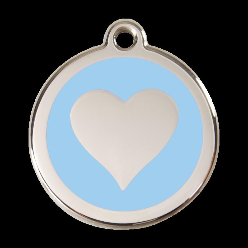 médaille chat : motif coeur bleu