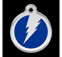 médaille gravée pour chien avec motif éclair bleu