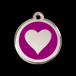 Médaille pour chien gravée - motif coeur violet