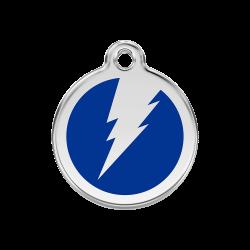 accessoire pour chat : médaille bleue gravée